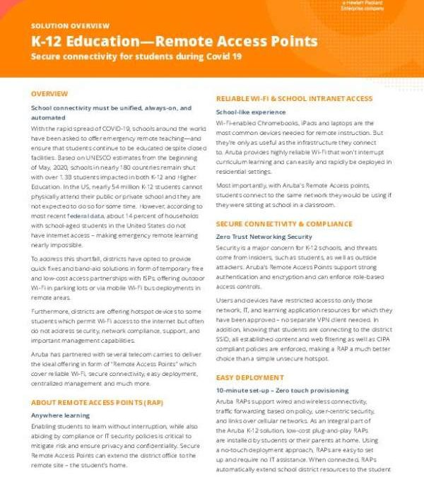K-12 Education—Remote Access Points