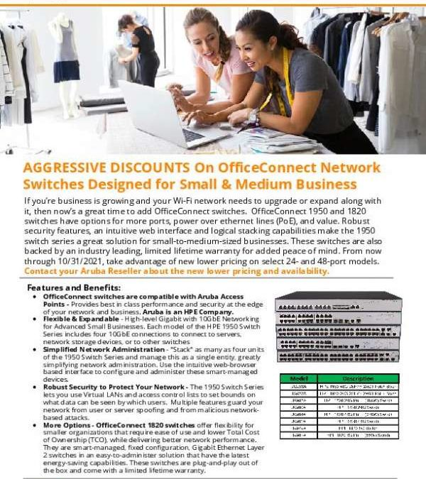 AGGRESSIVE DISCOUNTS on OfficeConnect Network Switches Designed for Small & Medium Business